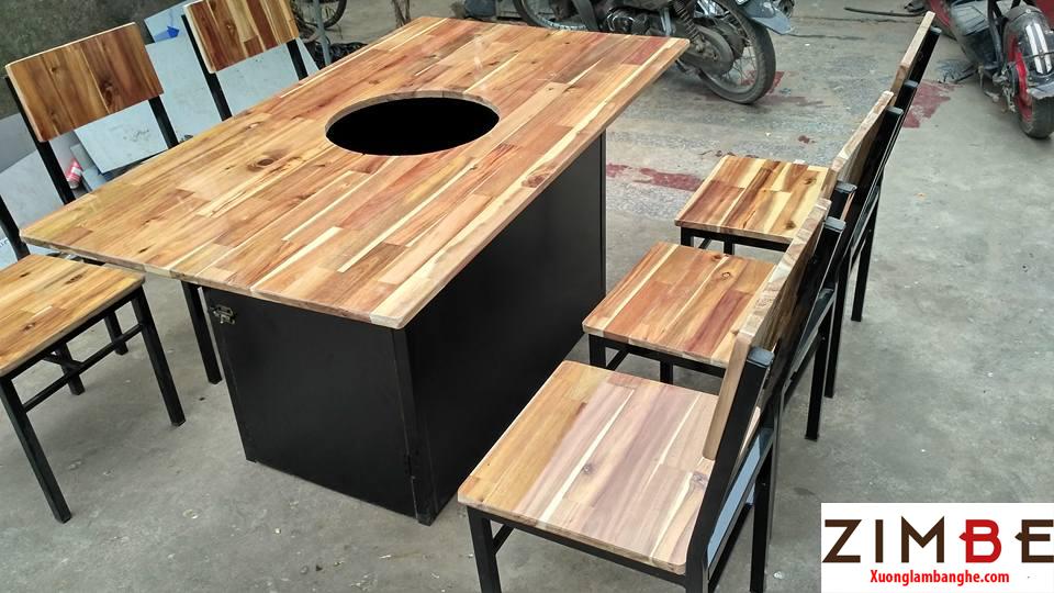 Bàn ghế cafe gỗ thông 03 - 0972075902