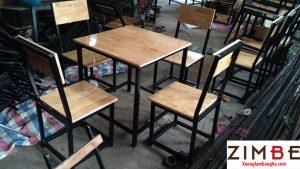 Bàn ghế cafe gỗ thông 01