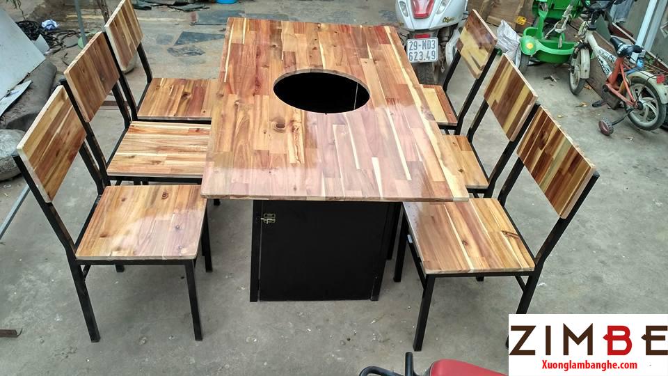 Bàn ghế cafe gỗ thông 04 - 0972075902