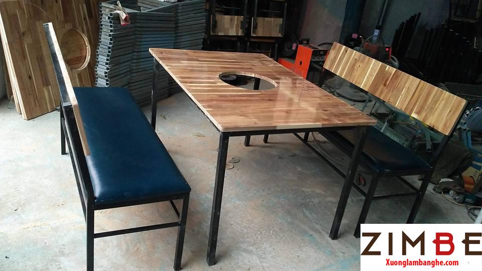 Bàn ghế cafe gỗ thông 07 - 0972075902