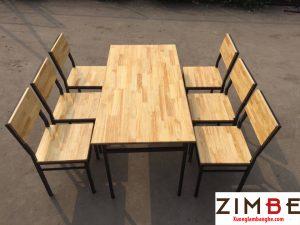 Bàn ghế cafe gỗ thông 02