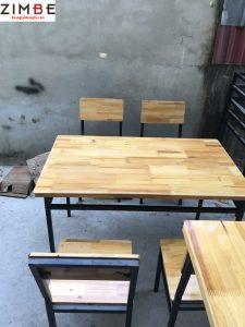 Bàn ghế nhà hàng khung sắt 4 ghế hình chữ nhật