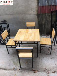 Bàn ghế nhà hàng khung sắt 4 ghế hình vuông