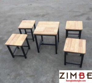 Bàn ghế gỗ cafe cóc có đôn