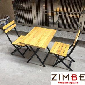 Bàn ghế xếp cafe chân sắt