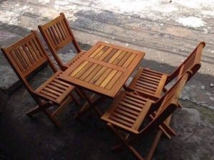 Bàn ghế xếp cafe gỗ keo