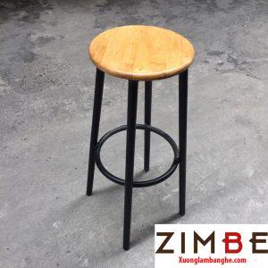 Ghế quầy bar mặt gỗ chân sắt 01