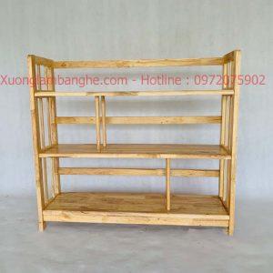 Kệ sách bằng gỗ 3 tầng 1m2