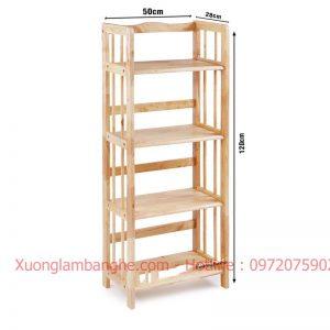 Kệ sách bằng gỗ 4 tầng 50cm