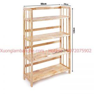 Kệ sách bằng gỗ 4 tầng 80cm