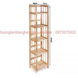 Kệ sách bằng gỗ 5 tầng 40cm