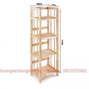 Kệ sách bằng gỗ 4 tầng 40cm